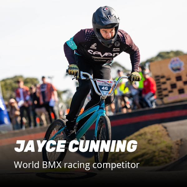 Jayce Cunning world BMX racing competitor loves our supplements